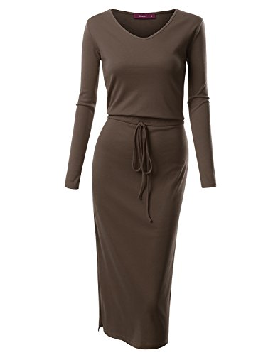 [Doublju Drawstring Waist V-Neck Long Dress (Plus size available) BROWN X SMALL] (Cheap Plus Size Fancy Dress)