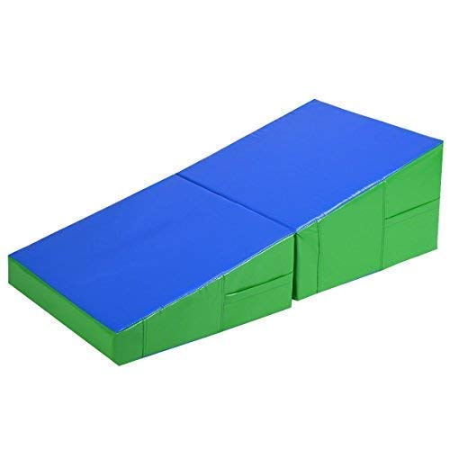 Incline Wedge Gym Mat for Tumbling Exercise Gym Stretching Yoga Kids Play, Green and Blue