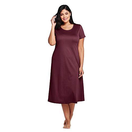 b63fa11a3 Lands' End Women's Plus Size Women's Midcalf Supima Cotton Nightgown, 3X,  Deep Claret