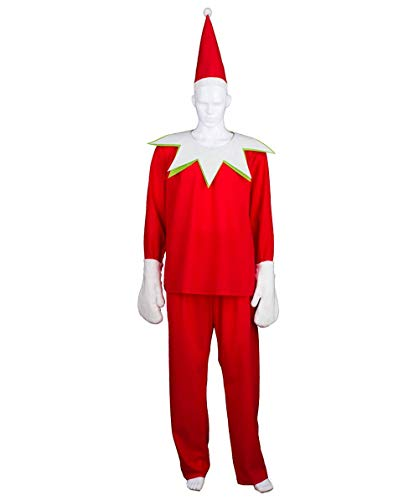 Men's Elf on The Shelf Costume, Red Adult (M) HC-415