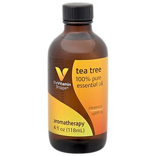The Vitamin Shoppe Essential Oil Tea Tree, 100 Pure Essential Oil, Aromatherapy Oil with Cleansing, Purifying and Uplifting Benefits and a Strong Aromatic, Camphoraceous Aroma (4 Fl. Ounces Oil)