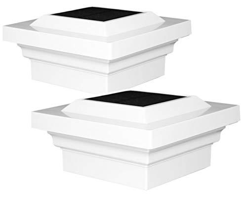 Glass Cap Railing (Classy Caps SL078W 4x4 Regal Solar Post Cap SL078W - 2 Pack/White)