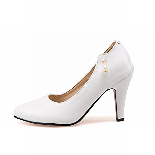 MissSaSa Damen slip on high heel Pumps/dateschuhe Weiß