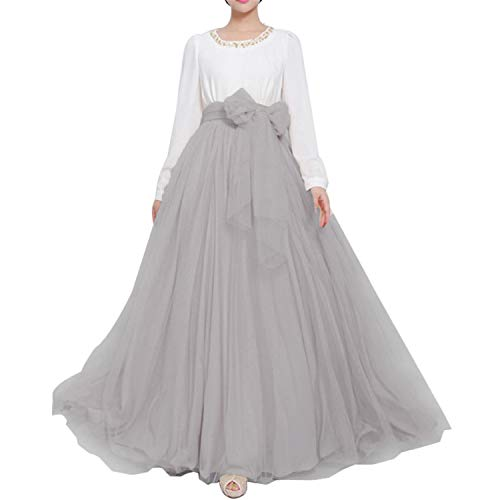 Women Wedding Long Maxi Puffy Tulle Skirt Floor Length A Line with Bowknot Belt High Waisted for Wedding Party Evening (Silver Grey, Medium,US 4-16)