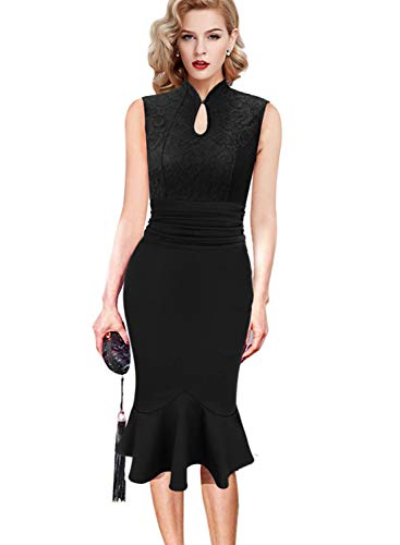 VFSHOW Womens Black Floral Lace Keyhole Ruched Cocktail Party Mermaid Pencil Midi Dress 2675 BLK S