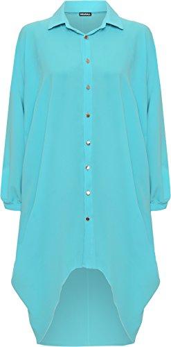 WearAll® Women's Plus Batwing Shirt Dress Long Sleeve Dip Hem Hi Lo Button Collar Ladies 16-26