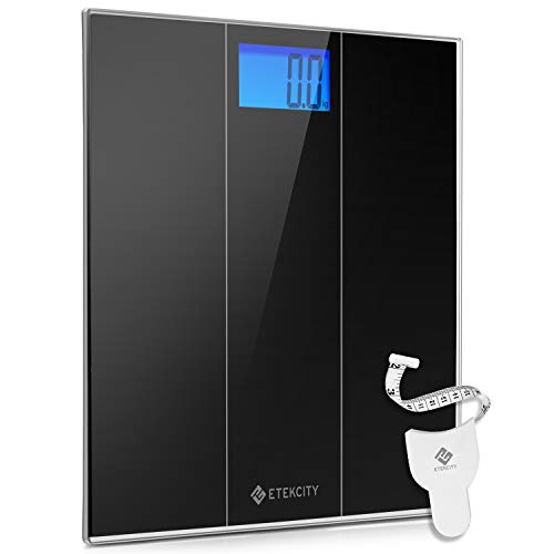 Etekcity Digital Body Weight Bathroom Scale with Step-On Technology, 400 Pounds, Body Tape Measure Included, Elegant Black (12