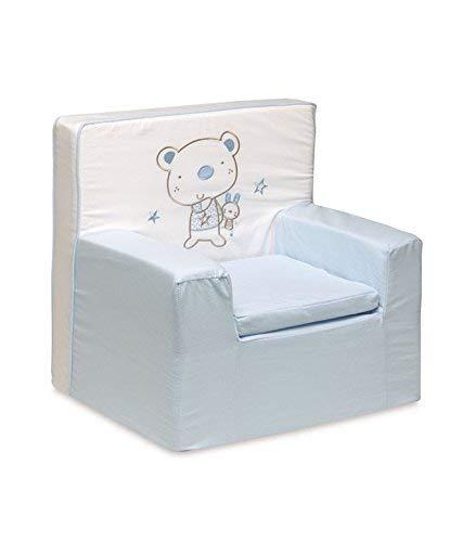 pirulos 32013013–Sessel Motiv Bär Star, Baumwolle, 52x 49x 27cm, Farbe Weiß und Blau
