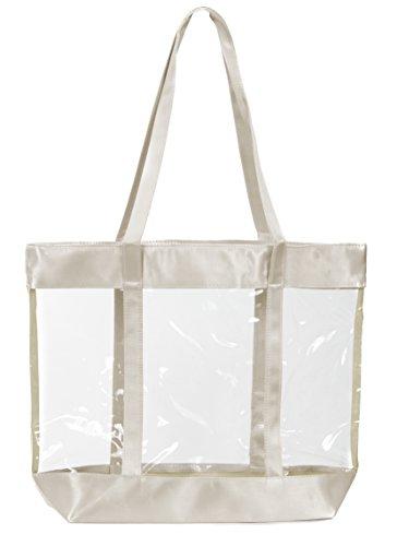 - Leisureland Clear Tote Bag, Top Zipper Security Tote, Satin Trim (L17.5