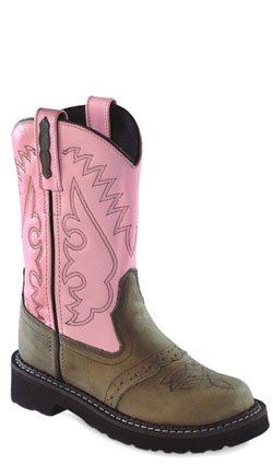 Old West Pink Childrens Girls All Leather Flexi Tubbies Cowboy Boots 3 D