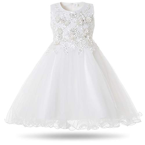 CIELARKO Girls Dress Flower Pearls Kids Party Wedding Dresses for 2-11 Years (8-9 Years, White)