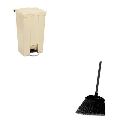 KITRCP614600BGRCP637400BLA - Value Kit - Rubbermaid Fire-Safe Step-On Receptacle w/Wheels (RCP614600BG) and Rubbermaid-Black Brute Angled Lobby Broom (RCP637400BLA) by Rubbermaid