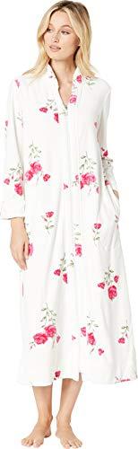 (Carole Hochman Women's Luxe Velour Long Zip Robe, Roses)