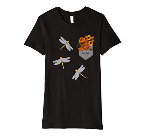 Womens Sunflowers and Dragonfly Van Gogh Pocket  Premium T-Shirt