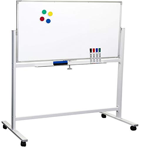 Large 48'x32' White Board on Wheels: 1 Reversible Magnetic Dry Erase Board with Rolling Stand, 4 Dry Erase Markers, 1 Eraser, 4 Magnets, 1 Marker Tray
