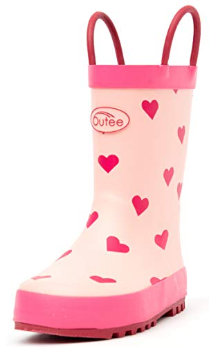 Outee Toddler Girls Little Kids Rain Boots Rubber Waterproof Shoes Printed Red Hearts Cute Print with Easy On Handles (Size 10,Red)