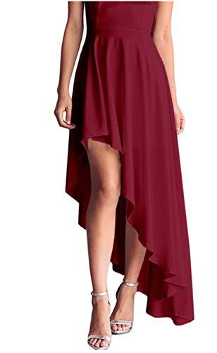 Lrud Women's Halterneck Sexy Sheer Mesh Decolletage Evening Gowns Off Shoulder Sleeveless Hi-low Hemline Party Club Dress Black XL by Lrud (Image #3)