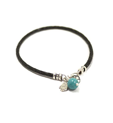 Silver Peace Symbol & Hamsa Charm on Black Braided Leather Bracelet for Women - 7 Inch (Turquoise Hamsa Hand Bracelet)