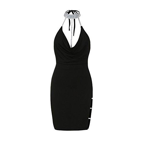 Sexy Halter Party Dress, Sale Womens Summer Deep V Neck Backless Slit Sequin Clubwear Night Mini Cami Dress (Black, M) by QIBOOG (Image #5)