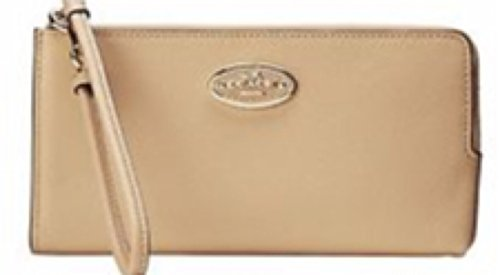 (COACH Womens Refined Grain Leather Zip Wallet Light/Nude Checkbook Wallet )