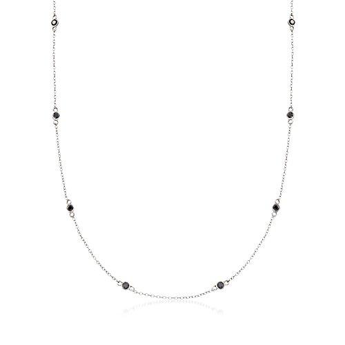 Bezel 2ct Ladies Diamond - Ross-Simons 2.00 ct. t.w. Bezel-Set Black Diamond Station Necklace in Sterling Silver