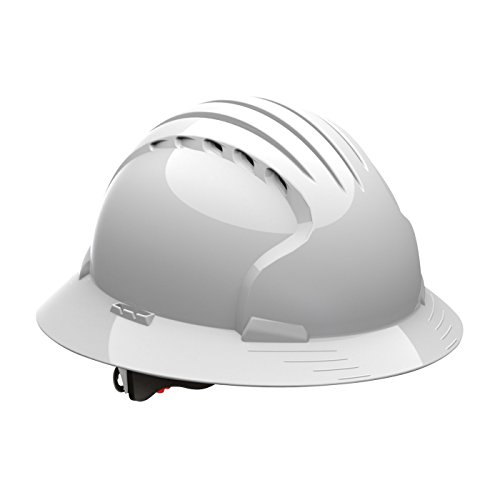 (Evolution Deluxe 6161 280-EV6161-10V Full Brim Hard Hat with HDPE Shell, 6-Point Polyester Suspension and Wheel Ratchet Adjustment Vented, White)