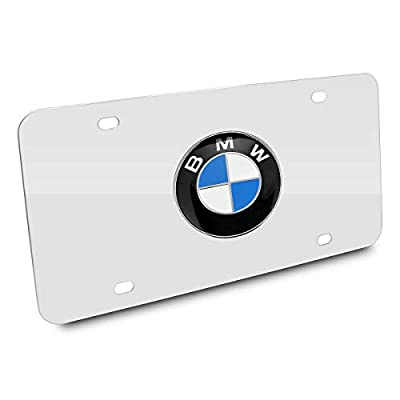 Silver 3D Stainless Steel BMW Emblem License Plate Frame,Decorated BMW License Plates,License Plate Cover for All BMW,Screw Set Included: Automotive