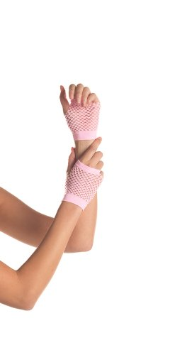 (Be Wicked Women's Wrist Length Fingerless Fishnet Gloves, Candy Pink, One Size)