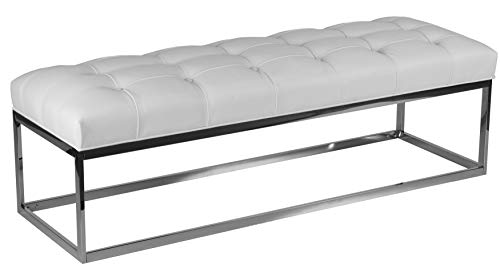 Cortesi Home CH-OT165748 Biago Stainless Steel Contemporary Oversize Tufted Bench in Faux Leather, 60 , Snow White