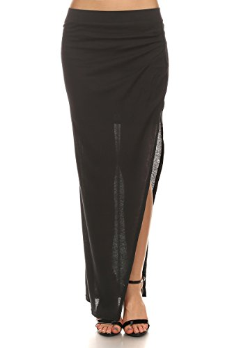Eliana - Black Ribbed Knit Wrapped Maxi Skirt w/Sexy Thigh Slit