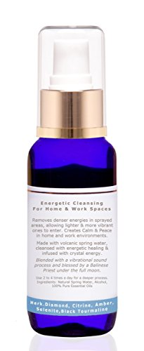 Healing Crystals Smudge Spray For Cleansing And Space Clearing Energy Auric Blends substitute to Incense, Sticks, Bundles & Candles – Lavender & Lemon Organic Pure Essential Oils - 100ml/3.4fl.oz.