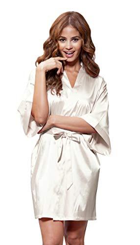 (Women's Pure Color Satin Short Kimono Bridesmaids Lingerie Robes (Small/Medium, Champagne))
