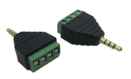 Mini Phone Plug - Cerrxian 3.5mm 4 Pole Stereo TRRS Audio Video Male to 4 Screw Terminal Female Headphone Balum Converter Adapter (2-Pack)