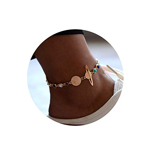 YOOE Eight Planets Universe Bracelet Anklet. Adjustable Gold Plate Chain Galaxy Space Bracelet Solar System Space Women Jewelry
