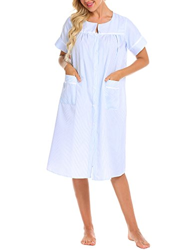 Ekouaer Nightshirts Women's Striped Duster Button-Front Lounger House Dress (Clear (Stripe Long Lounger)
