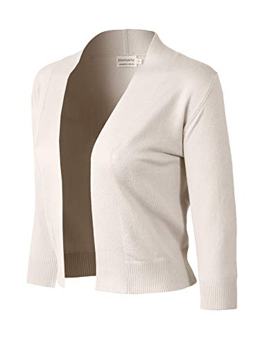 MixMatchy Women's Basic Solid 3/4 Sleeve Open Front Cropped Cardigan (S-XL) Ivory S