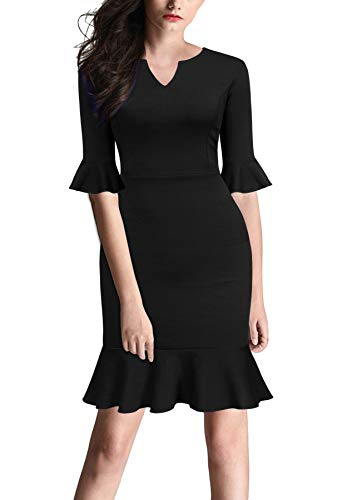 Petite Little Black Dress - FORTRIC Women Bell Sleeves Fishtail Office Work Casual Petite Dresses Black L