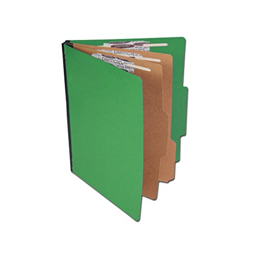 Colored Pressboard Classification Folder with 6 Sections- Emerald Green, Letter Size, Top Tab (Section Top Tab Classification Folders)
