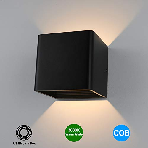 (Aipsun Square Matte 5W LED COB Modern Up and Down Wall Light Lamp for Indoor Wall Mount Sconce Pathway Staircase Bedroom Reading Living Room Balcony Home Lighting Fixture(Black,Warm)