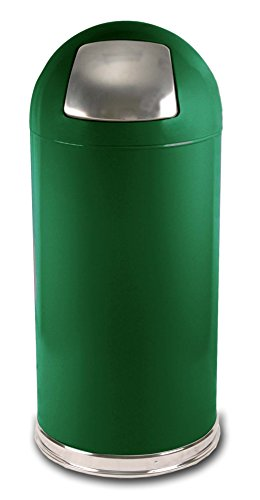 Green Dome Tops - Witt Industries 15DTSGN Push Top Standard Receptacle, Steel, 15 gal, Spruce Green