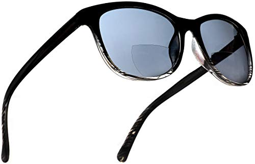 Bifocal Sun Readers Fashion Reading Sunglasses with Black and Transparent Frame, Grey Lens, 2.00 Rx Magnification for Men and ()