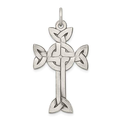 925 Sterling Silver Textured Brushed Irish Claddagh Celtic Knot Cross Religious Pendant Charm Necklace Fine Jewelry For Women Gift Set