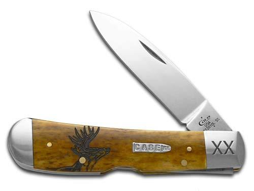 CASE XX Deer Scene Antique Bone Tribal Lock 1/500 Stainless Pocket Knife Knives