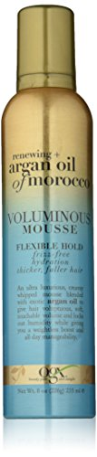 Organic Mousse - OGX Renewing Argan Oil of Morocco Voluminous Mousse, Flexible Holding Volumizing Foam Hair Mousse, 8 Oz, All Hair Types