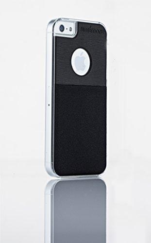 Sinjimoru iPhone 5 / 5s Hülle, stylische Silikon Schutzhülle, sicheres Hardcase mit Kartenhalter, schöne Sinji Pouch Schutzhülle transparent für iPhone 5 / 5s, Schwarz.