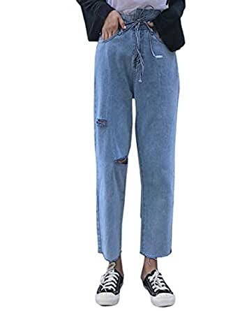 Women's Jeans Solid Color Hollow Out Asymmetrical Waist Wide Leg Loose Cropped Denim Pants