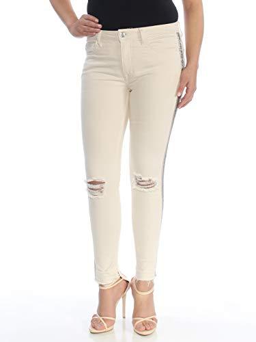 Free People Embellished Skinny Jeans (Ivory, 27)