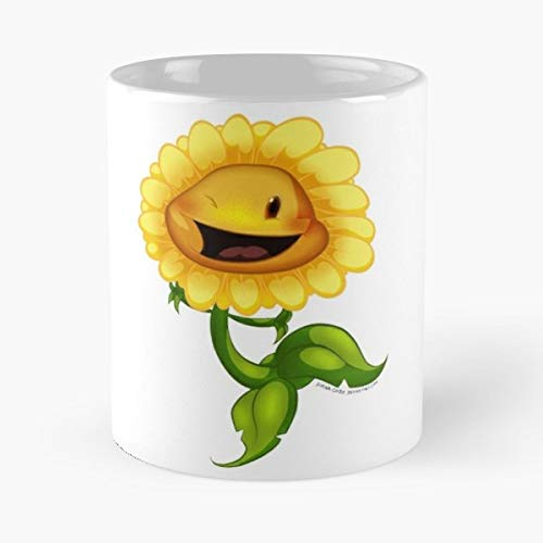 Sunflower Sun Flower Plants Vs Zombies Versus - White -coffee Mug- Unique Birthday Gift-the Best Gift For Holidays- 11 Oz. (Plants Vs Zombies Garden Warfare Best Class)