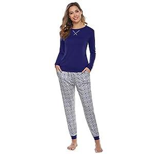 Hawiton Pigiama Donna Invernale Manica Lunga Pigiami a Pois ondulati in Pure Cotone Due Pezzi Set Pigiama Pantaloni… 12