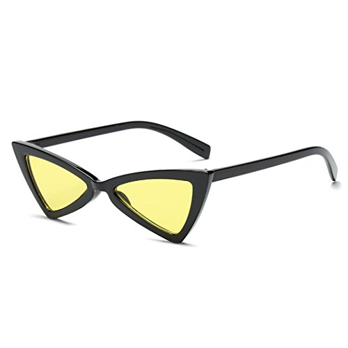 Retro Thin Triangle 90's Trend Cat Eye Vintage Sunglasses Narrow Fashion Clout Skinny Shades (Black + Yellow Tinted ()